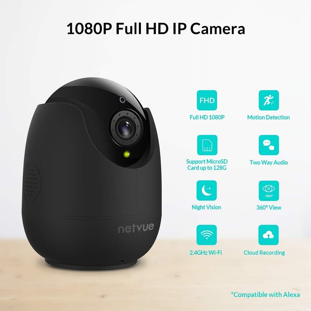 Netvue Camera Surveillance WiFi sans Fil PTZ 1080P Compatible avec Alexa Echo Show Caméra dôme IP avec Vision Nocturne Infrarouge pour bébé/Fumée/Pet/Nanny Monitor, Noir