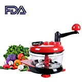 hand baby food grinder - Manual Food Processor Baby Food Chopper Food Grinder Red 2000ml Food Mixer Blender to Chop Meat Fruits Vegetables Nuts Herbs Onions Garlic Tomato (RED)