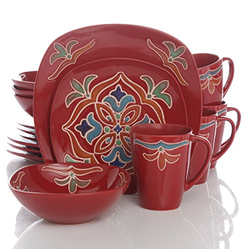 Better Homes and Gardens Medallion 16-Piece Square Dinnerware Set, Red Review