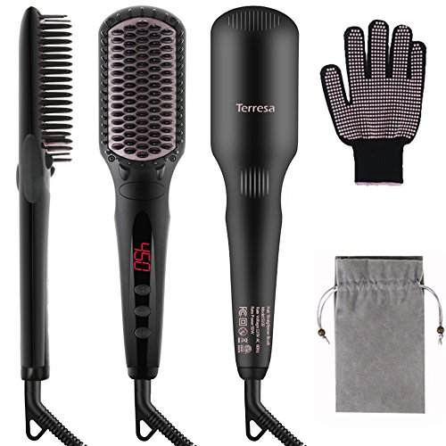 Price comparison product image Terresa Hair Straightener Brush, Electric Hair Straightening Brush, Anti-Scald Comb Teeth, 16 Heat Setting, LCD Digital Display, Dual Anion Spray to Create Shiny, Silky Straight Hair