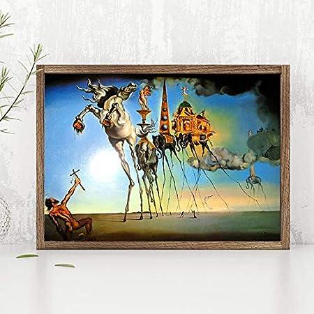 Oszagh Imprimir en Lienzo Cuadro sobre Pintura, Caballo Elefante Salvadoer Dalies Clásico 20x27 Pulgadas, Cartel Imprimir imágenes Inicio Decoración de Pared -Sin Marco -AKT-5979