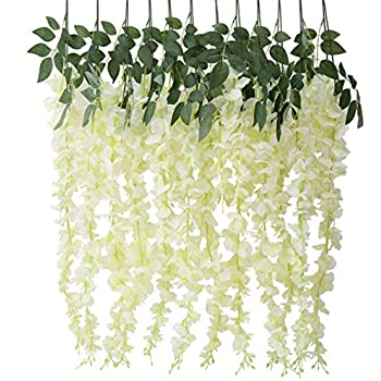 Amazon houda artificial fake wisteria vine ratta silk flowers houda artificial fake wisteria vine ratta silk flowers for garden wedding decor yellowwhite mightylinksfo