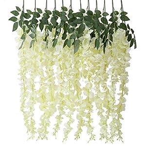 Houda Artificial Fake Wisteria Vine Ratta Silk Flowers for Garden Wedding Decor (Yellow/White) 92
