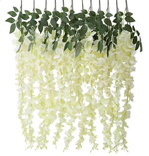 Houda Artificial Fake Wisteria Vine Ratta Silk Flowers for Garden Wedding Decor (Milk white)