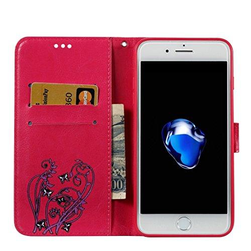 MXNET IPhone 7 Plus Fall, Spannung Crazy Pferd Textur Horizontale Flip Leder Tasche mit Halter & Card Slots & Wallet & Lanyard CASE FÜR IPHONE 7 PLUS ( Color : Magenta )