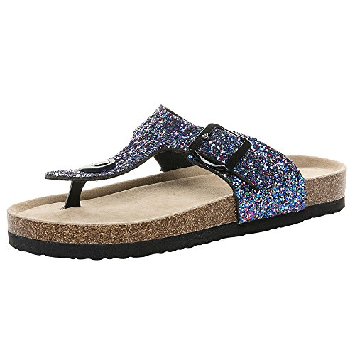 SMALLE_Shoes T-Strap Thong Sandals Women,Women Sequin Buckle Slip On Flip-Flops Beach Casual Platform Footbed Slippers Blue (Hot Wheels Scooter)