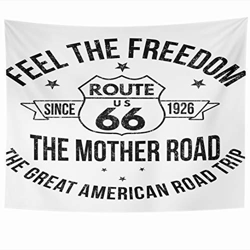 (Ahawoso Tapestry 60x50 Inch Fashioned Sixty Route 66 Vintage Historic Road Six Aged America American Famous Tapestries Wall Hanging Home Decor for Living Room Bedroom Dorm)