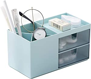 Desk Organizer for Women Girls Office Desk Storage Box Holder Vanity Storage with 5 Compartments Plastic Makeup Organizer for Office School Home (Small, Blue)