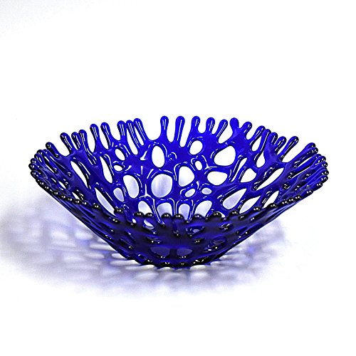 Lacy Glass Art Sea Coral Deep Fruit Bowl in Cobalt Blue (Fusion Counter Height Table)