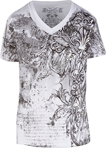 TG327V Vines and Fleur De Lis Metallic Silver Embossed Short Sleeve V-Neck Cotton Mens Fashion T-Shirt - White/Large