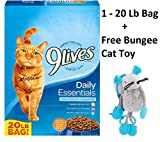 9 Lives Daily Essentials Dry Cat Food (Daily Essentials, 20 Lb - 1 Bag + Free Toy)