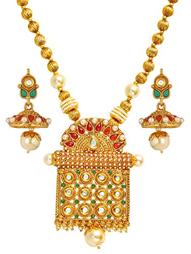 The Jewelbox Traditional Temple Design Kundan Red Green Pearl 22K Gold Earring Necklace Set Girls Women