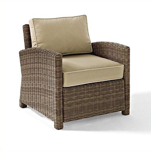 Crosley Furniture Bradenton Outdoor Wicker Arm Chair with Cushions - Sand