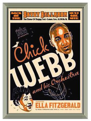 Chick Webb and Ella Fitzgerald Savoy Ballroom 1935 Concert Poster Reproduction - Quality Framed