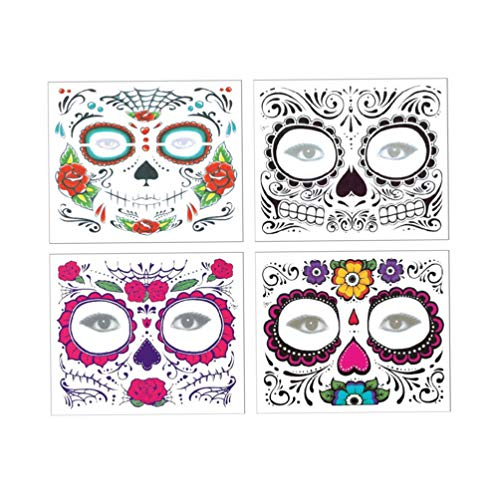 Lurrose 4PCS Halloween Facial Tattoo Stickers Day of the Dead Sugar Skull Facial Tattoos Waterproof Temporary Facial Tattoos for Woman Men