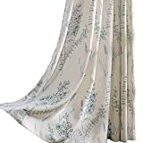 Cheap KoTing Blue Teal Flower Linen Curtains 1 Panel Natural Linen Teal Sage Curtains Drapes Grommet 84 inch Long