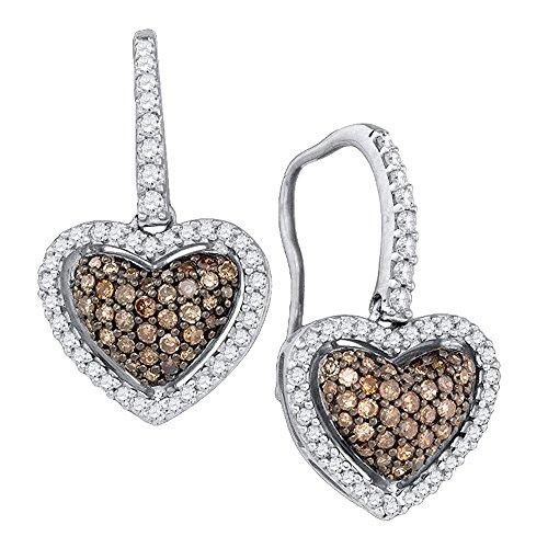 10k White Gold Chocolate Brown Diamond Heart Dangle Earrings (5/8 ()