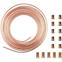 "25 Ft. Roll Coil of 3/16"" OD Copper Nickel Brake Line Tubing Kit With Fittings(Gold)"