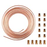 """25 Ft. Roll Coil of 3/16"""" OD Copper Nickel Brake Line Tubing Kit With Fittings(Gold)"""