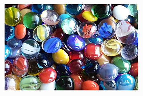 - Creative Stuff Glass - 1 LB Mixed Colors - Glass Gems - Vase Fillers