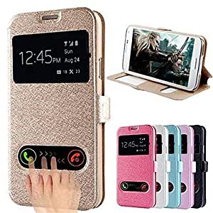 WEV Silk Pattern Dual Window Full Body Case for Samsung S5 I9600(Assorted Color) , Black