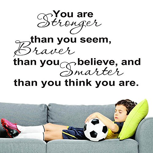 Inspirational Wall Art Decor - 22 x 18 Inch You Are Stronger Than You Seem Motivational Wall Stickers for Home Kitchen Decorations
