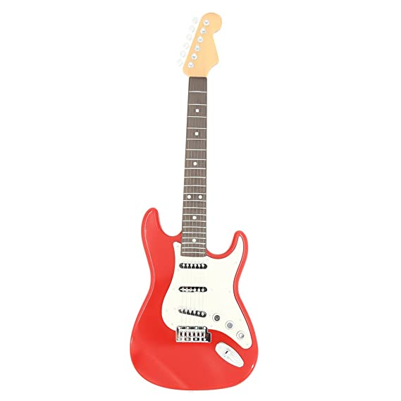 YAKOK 6 Cuerdas Guitarra Electrica Niños Guitarra Juguete para Niños y Niñas 3-12 años (Rojo Blanca): Amazon.es: Juguetes y juegos