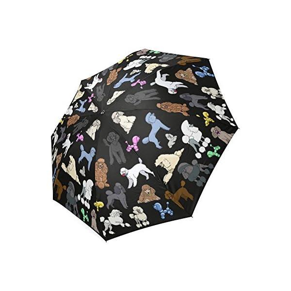 Artsadd Fashion Umbrella Poodle Umbrella Black Foldable Sun Rain Travel Umbrella 1