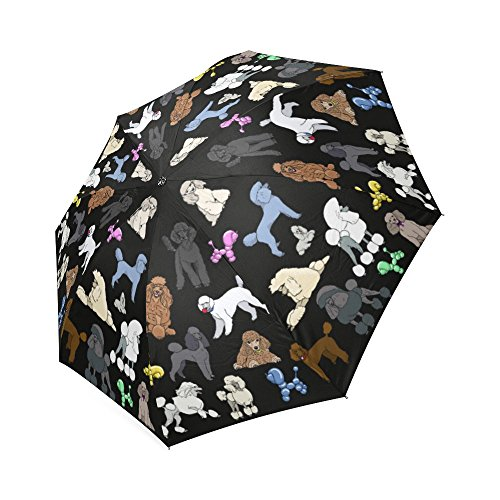 Artsadd Fashion Umbrella Poodle Umbrella Black Foldable Sun Rain Travel (Poodle Umbrella)