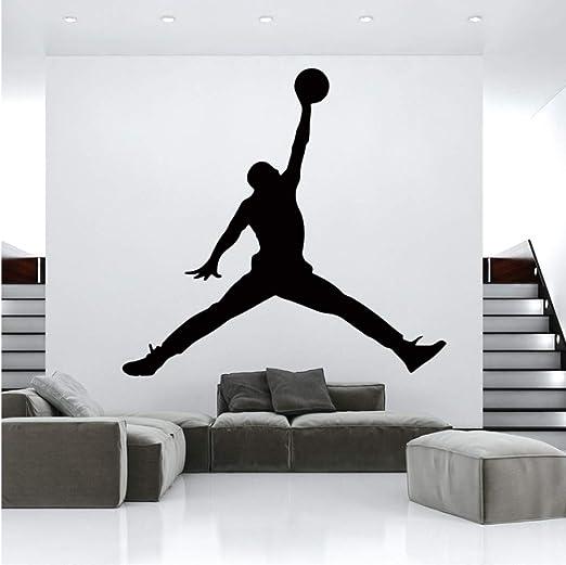 YLGG Jordan Baloncesto Vinilo Etiqueta De La Pared Wallpaper para Habitaciones De Los Niños Dormitorio Decoración Mural Gym Habitación Decoración ...
