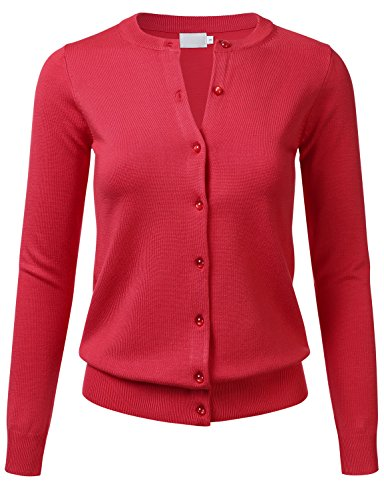 Women's Gem Button Crew Neck Long Sleeve Soft Knit Cardigan Sweater RED S