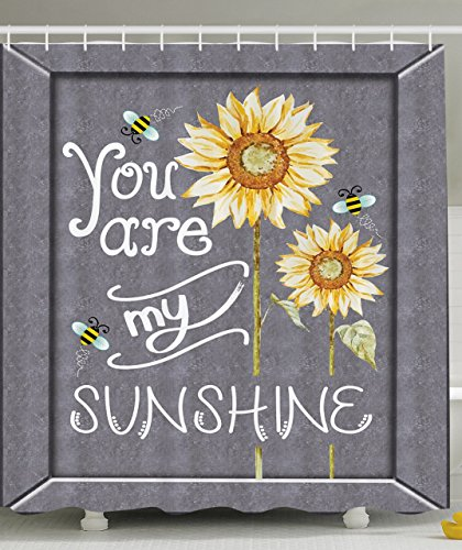 Ambesonne Love Signs Decorations Collection, You are My Sunshine Quote on a Black Board with Bees and Sunflowers, Polyester Fabric Bathroom Shower Curtain Set with Hooks, Gray Yellow
