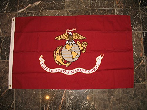3×5 Embroidered US Marines Marine Emblem Double Sided 100% Cotton Flag For Sale
