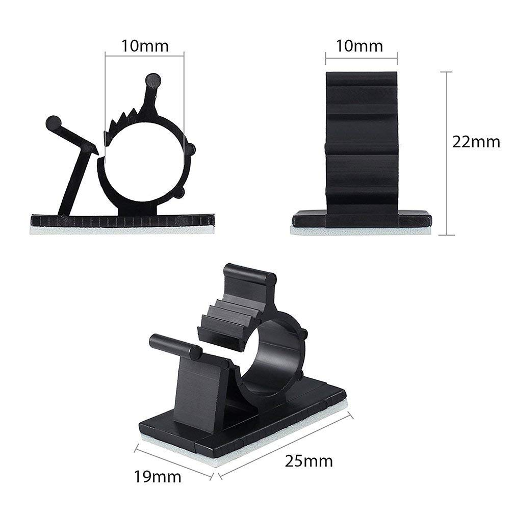 50pcs Black Office and Home Cable Clips with Strong Adhesive Tapes Clips Cable Wire Management Wire Cable Holder Clamps Cable Tie Holder for Car