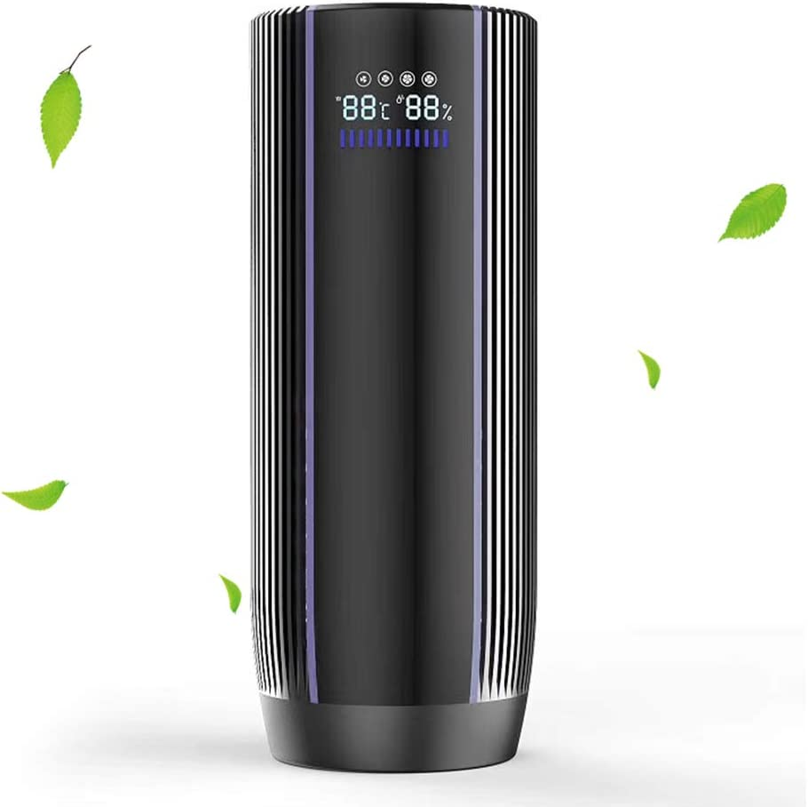 EPILUM Purificador de Aire Ionizador para Auto con Filtro HEPA con Pantalla LCD Generador de Iones Negativos Eliminar el Humo, Polvo, PM2,5 Alergias, Gérmenes