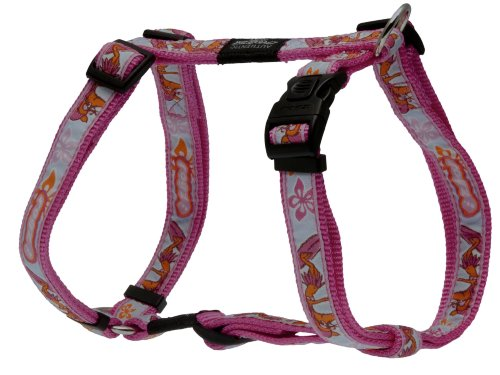 Rogz Fancy Dress Large 3/4-Inch Beachbum Adjustable Dog H-Harness, Pink Rogzette Design