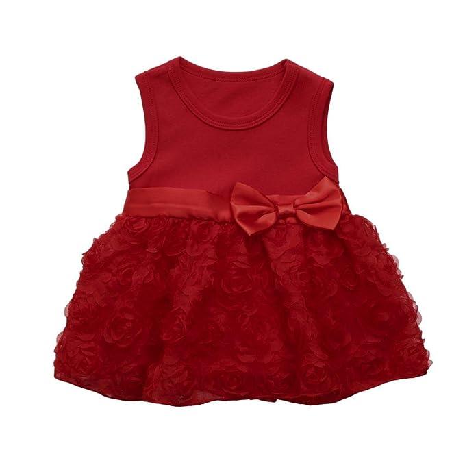 Vestido Para Niñas,Lenfesh Flor Vestido del Dobladillo Rose Mini vestido de recién nacido Para