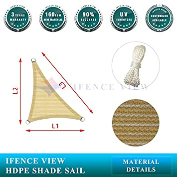 Ifenceview Right Triangle UV Sun Shade Sail for Patio Yard Driveway Canopy Awning Outdoor Facility 7 x7 x10 , Beige