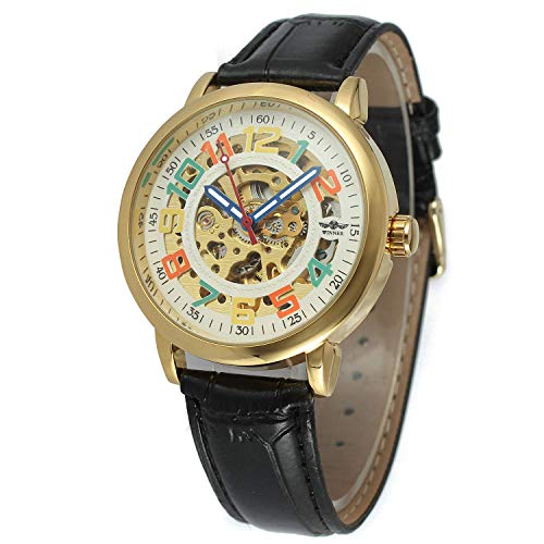 (Unisex Big Colorfully Number White Dial Automatic Mechanical Watch Gold Stainless Steel Black Leather)