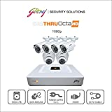 Godrej Octra HD 1080p SEHCCTV1500-4B2D 1.3MP 8-Channel DVR with 4 Bullet and 2 Dome Cameras (White)