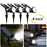 4 Pack Upgraded Outdoor Solar Landscape SpotLights - Waterproof Adjustable Yard Solar Lights for Outdoor Garden Pathway Driveway Lawn Walkway Lighting Illumination, Auto On/Off Bright White