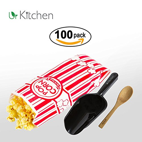 Price comparison product image 100 Popcorn Bag 1.1oz Classic Individual Red & White – Bonus Popcorns Kernel Scoop and Bamboo Wooden Spoon – Perfect At Home Festival Stands & Movie Theatre