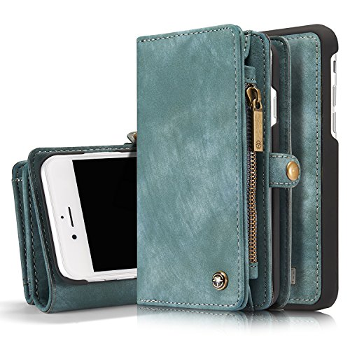 ICE FROG iPhone 7 / 8 Plus 5.5'' Wallet Case, Premium Folio Zipper Purse Leather Detachable Magnetic Case with Flip Credit Card Slots Stand Holder Cover for iPhone 7 / 8 Plus 5.5 inch - Blue by ICE FROG