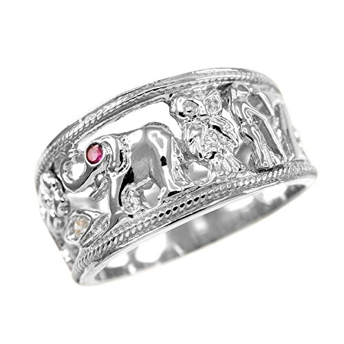 Good Luck Charms Fine 925 Sterling Silver Open Design CZ-Studded Ring