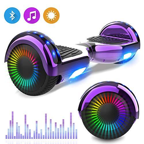 NEOMOTION Hoverboard 6.5 Pulgadas Overboard con Bluetooth LED Flash Scooter Eléctrico con Potente Motor Intermitente Patinete Eléctrico Nuevo Modelo Juguete y Regalo para Niños