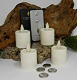 Luminara Tea Lights BATTERY OPERATED Flameless Candles Ivory 4pc Set 1.44'' x 1.25'' Auto-Timer | BONUS REMOTE CONTROL INCLUDED