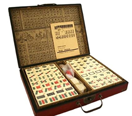 Collectible Chinese Antique Style Mahjong Game Set W  Leather Case GAM020  by Asian Home