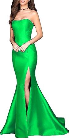 Ladsen Sexy Mermaid High Slit Evening Prom Dresses Green US22 Plus Size