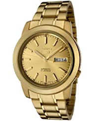 Seiko Mens SNKE56 Seiko 5 Automatic Gold Dial Gold-Tone Stainless Steel Watch