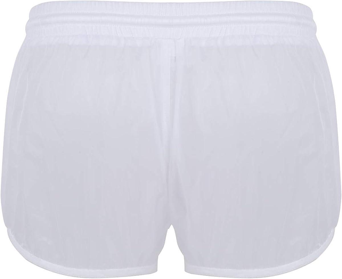 JEATHA Mens Sheer Mesh Drawstring Boxer Shorts See Through Lounge Sports Trunks Underwear Swimwear